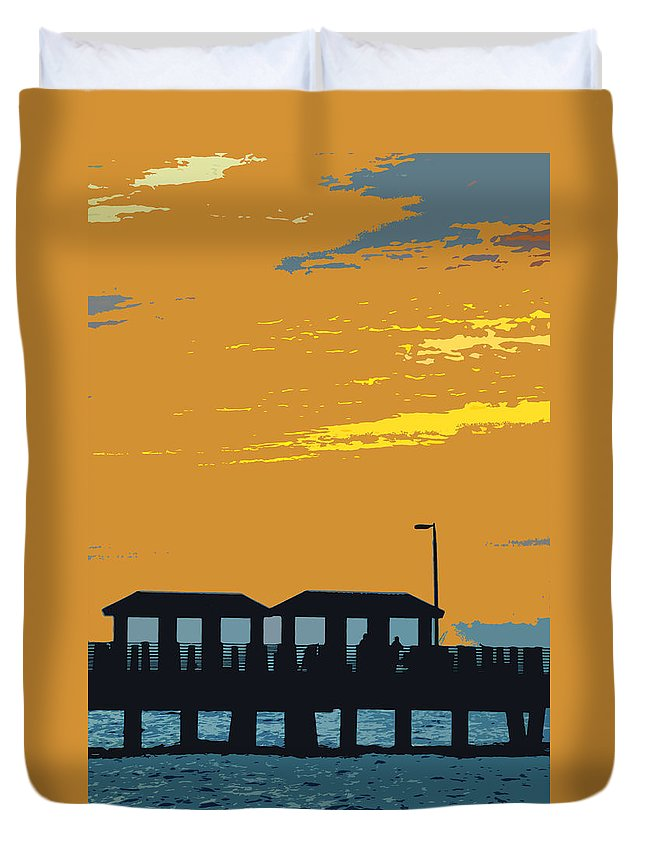 Fishing Pier Duvet Cover featuring the painting Sky And Pier by David Lee Thompson