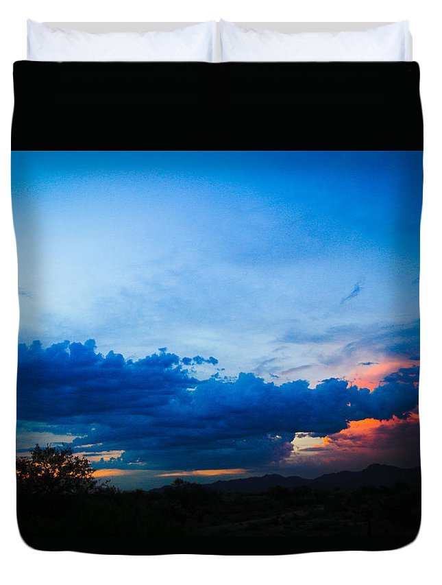 Duvet Cover featuring the photograph Sky Blue Sky Black by Kevin Mcenerney