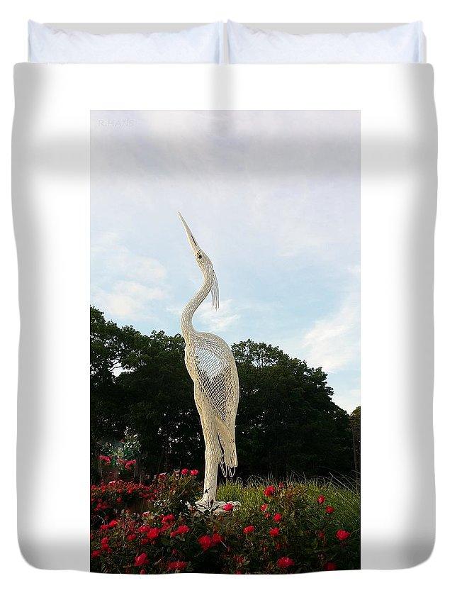 Birds Duvet Cover featuring the photograph Sky Crane by Rob Hans