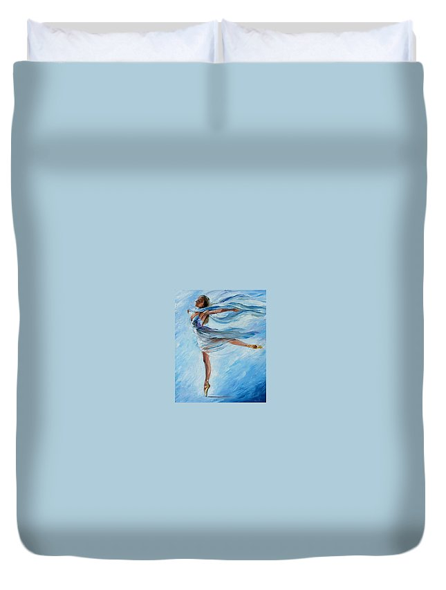 Ballet Duvet Cover featuring the painting Sky Dance by Leonid Afremov