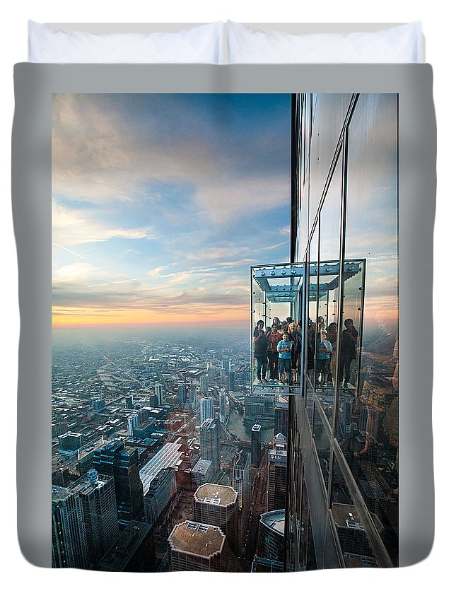 Travel Photography Duvet Cover featuring the photograph Sky High by Alex Kotlik