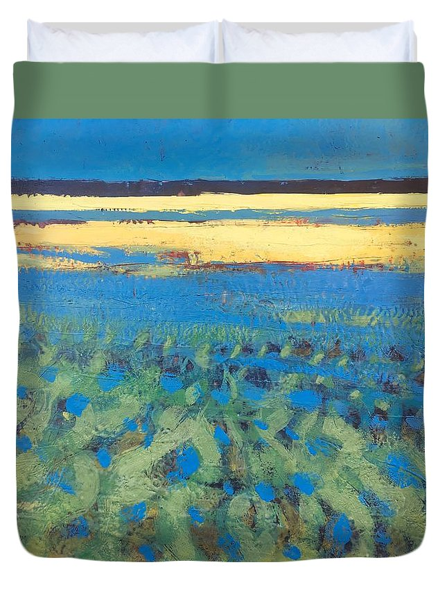 Painting Duvet Cover featuring the painting Sky In The Ripples by Marc Kundmann