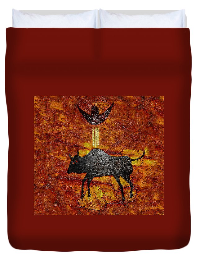 Art Duvet Cover featuring the painting Sky People Taking Buffalo by David Lee Thompson