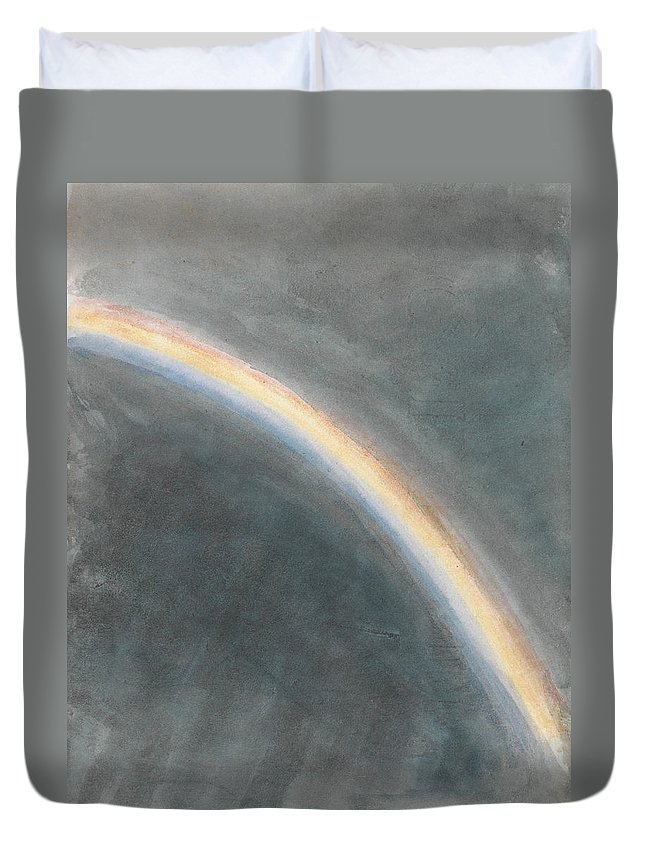 English Romantic Painters Duvet Cover featuring the painting Sky Study With Rainbow by John Constable
