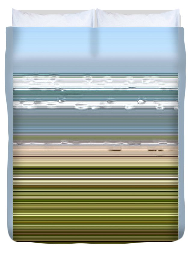 Lake Duvet Cover featuring the digital art Sky Water Earth Grass by Michelle Calkins
