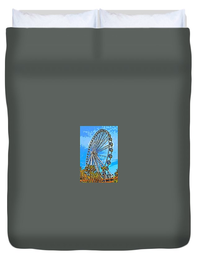 Sky Wheel Duvet Cover featuring the photograph Sky Wheel-colorized by Nicholas Mariano