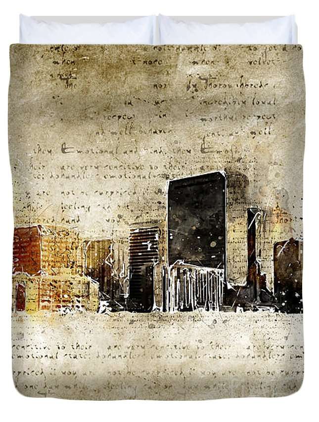 Skyline Duvet Cover featuring the digital art skyline of Denver in modern and abstract vintage-look by Michael Kuelbel