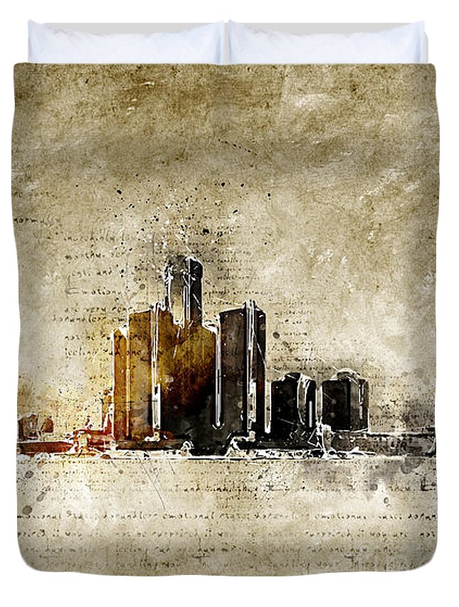 Skyline Duvet Cover featuring the digital art skyline of Detroit in modern and abstract vintage-look by Michael Kuelbel