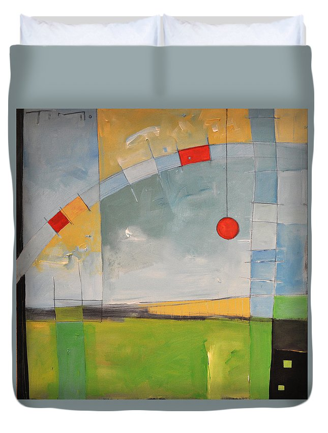 Green Duvet Cover featuring the painting Skyride by Tim Nyberg