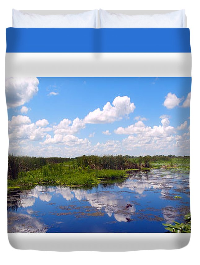 Art Duvet Cover featuring the photograph Skyscape Reflections Blue Cypress Marsh Florida Collage 1 by Ricardos Creations