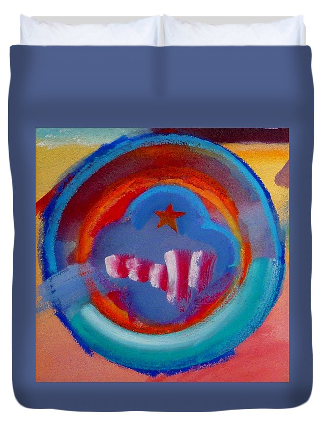 Logo Duvet Cover featuring the painting Skyscrapers by Charles Stuart