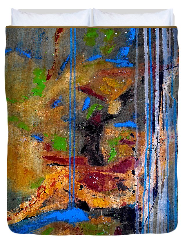 Abstract Duvet Cover featuring the painting Skyward by Ruth Palmer