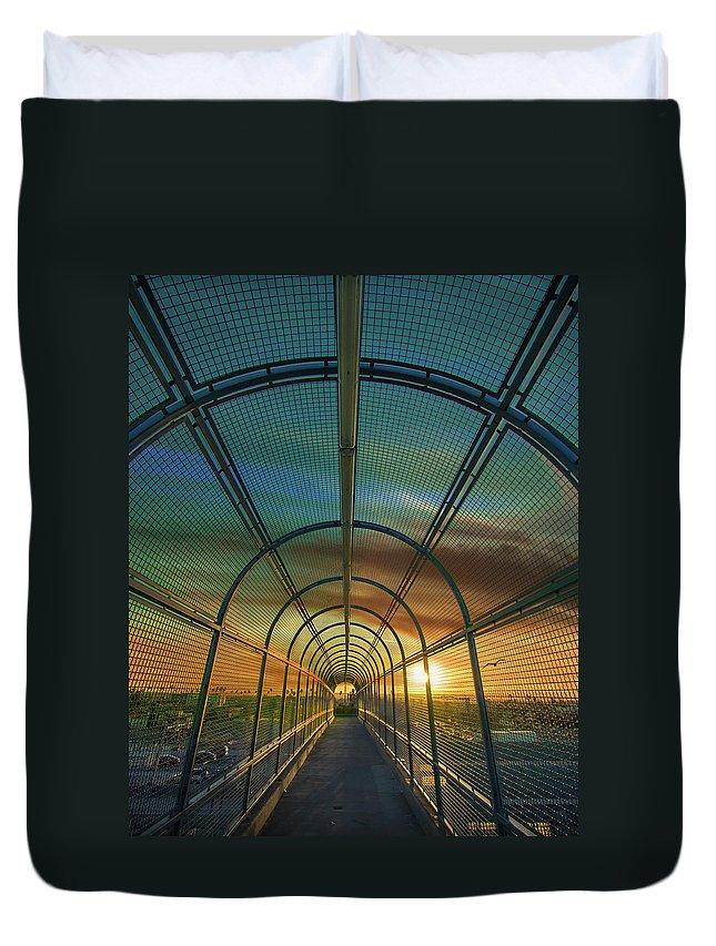 Slauson Bridge Duvet Cover featuring the photograph Slauson Sunset by Marjorie Mendoza