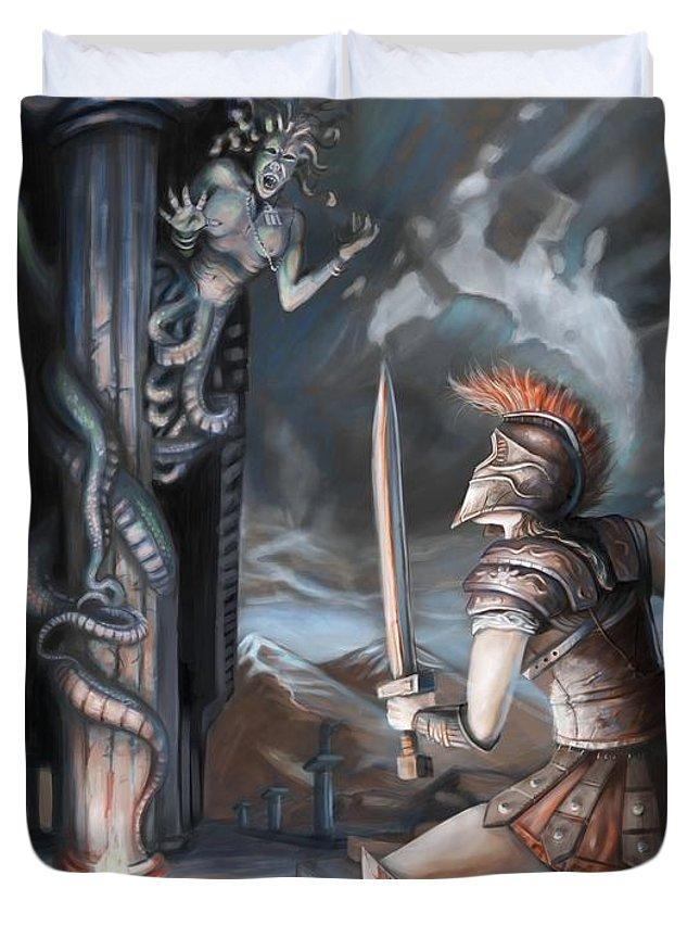 Greek Duvet Cover featuring the digital art Slay The Gorgon by Kerstin Carrion