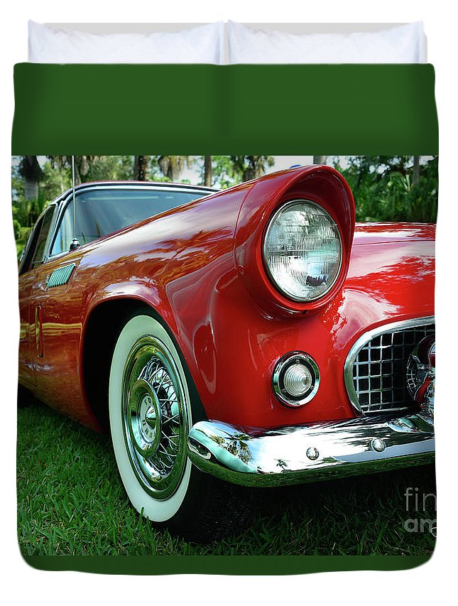 Sleek Duvet Cover featuring the photograph Sleek Red by Lisa Renee Ludlum