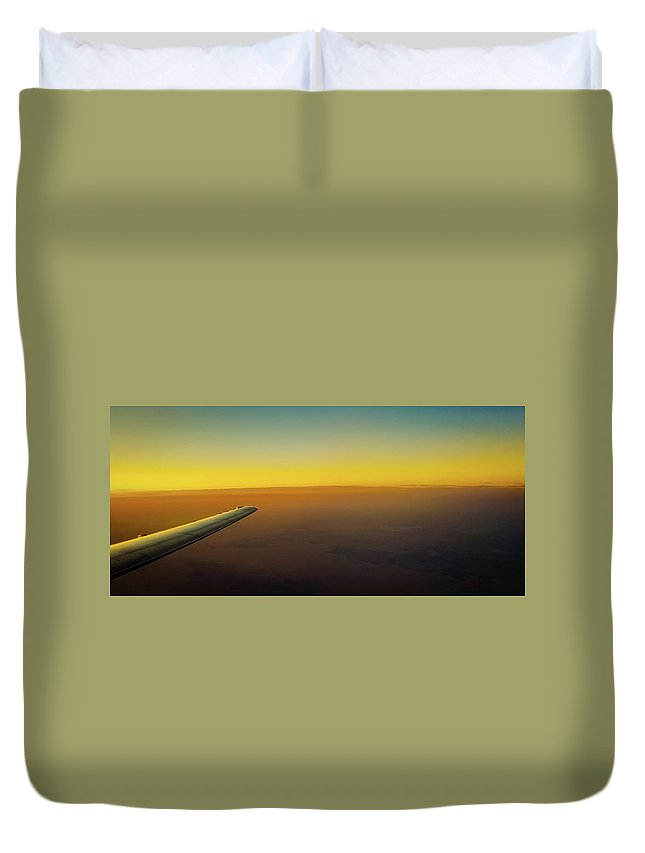 Plane Duvet Cover featuring the photograph Sleep Above The World by Jonny D