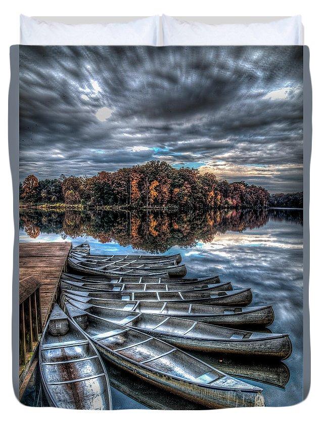 Crockett Park Duvet Cover featuring the photograph Sleep Canoes Warrenton Va 2012 by Alfredo Alegrett