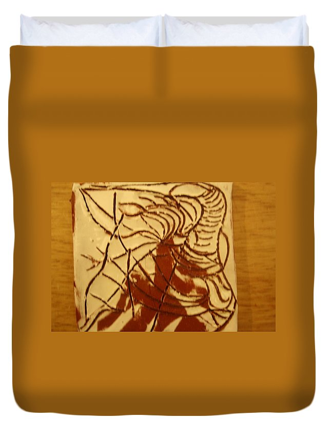 Jesus Duvet Cover featuring the ceramic art Sleeper - Tile by Gloria Ssali