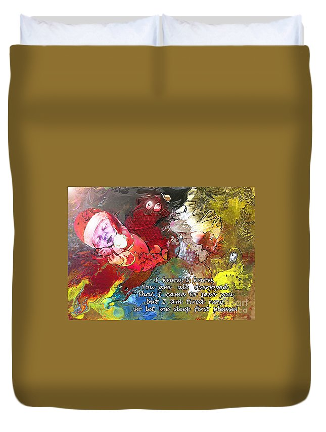 Messiah Painting Duvet Cover featuring the painting Sleepig Messiah by Miki De Goodaboom