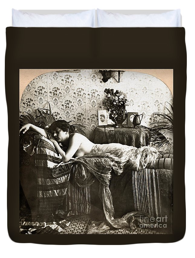 1900 Duvet Cover featuring the painting Sleeping Beauty, C1900 by Granger