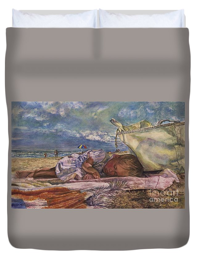 Cynthia Pride Watercolors And Art Duvet Cover featuring the painting Sleeping Beauty by Cynthia Pride