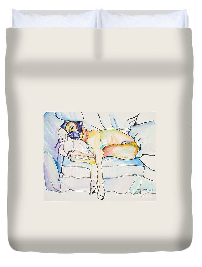Great Dane Duvet Cover featuring the painting Sleeping Beauty by Pat Saunders-White