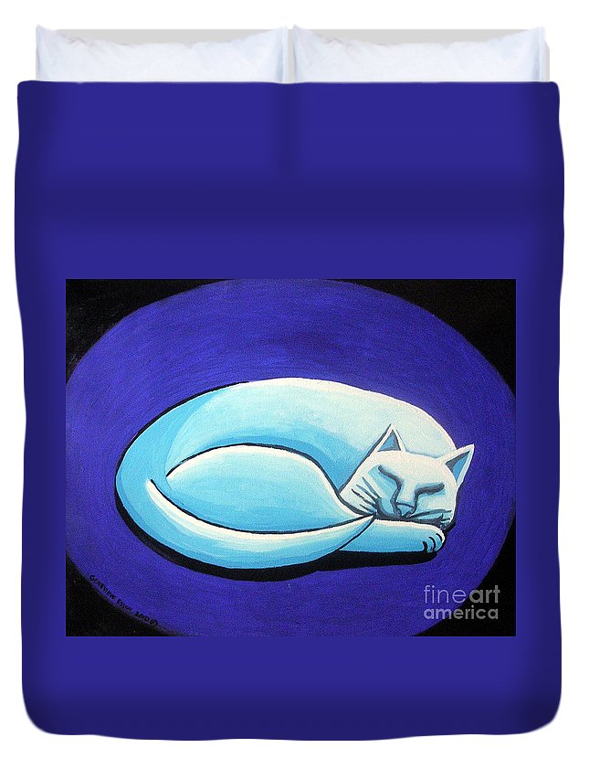 Sleeping Cat Duvet Cover featuring the painting Sleeping Cat by Genevieve Esson
