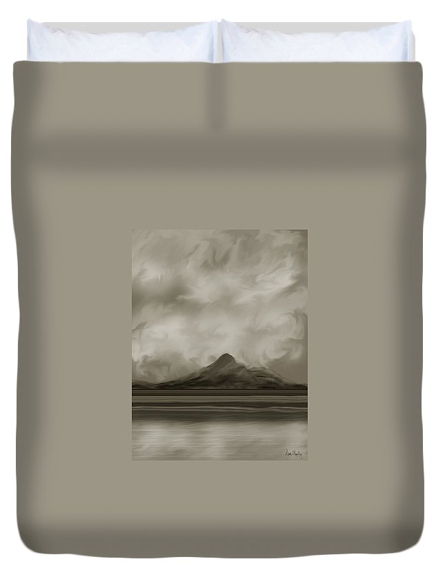 Wyoming Duvet Cover featuring the painting Sleeping Giant And Beck Lake by Anne Norskog