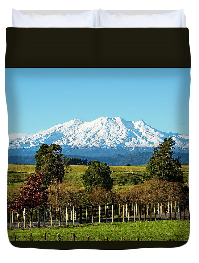 Mount Ruapehu Duvet Cover featuring the photograph Sleeping Giant by Photopoint Art