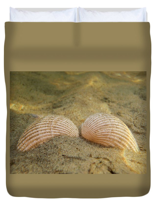Shell Duvet Cover featuring the photograph Sleeping Mermaid by Are Lund