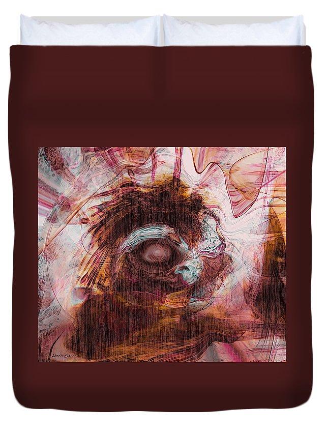 Abstract Art Duvet Cover featuring the digital art Sleepless by Linda Sannuti