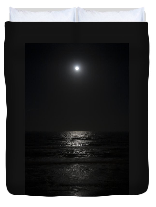 Beach Night Moon Light Wave Waves Water Ocean Sea Dark Bright Reflect Reflection Duvet Cover featuring the photograph Sleepless Night by Andrei Shliakhau