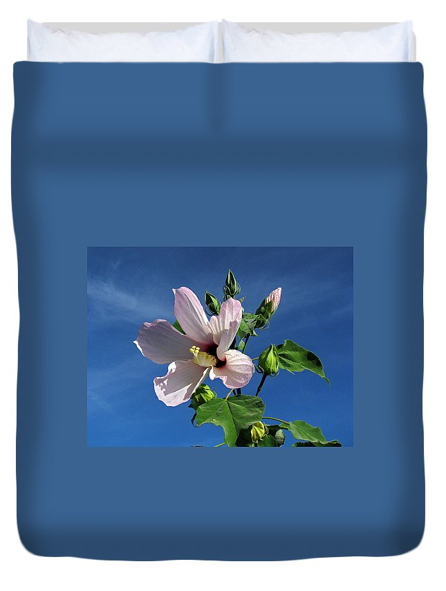 Floral Duvet Cover featuring the photograph Sleepy Hibiscus by Peg Urban