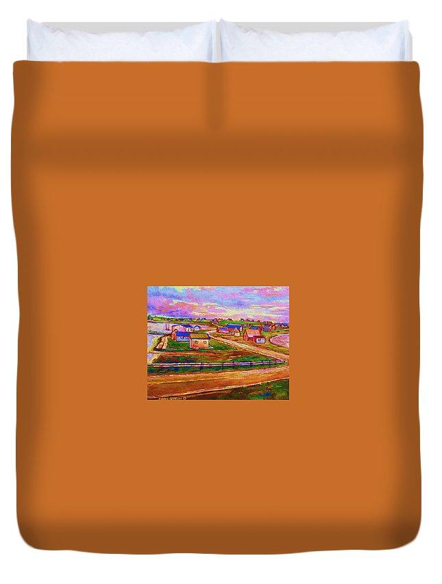 Sunrise Duvet Cover featuring the painting Sleepy Little Village by Carole Spandau