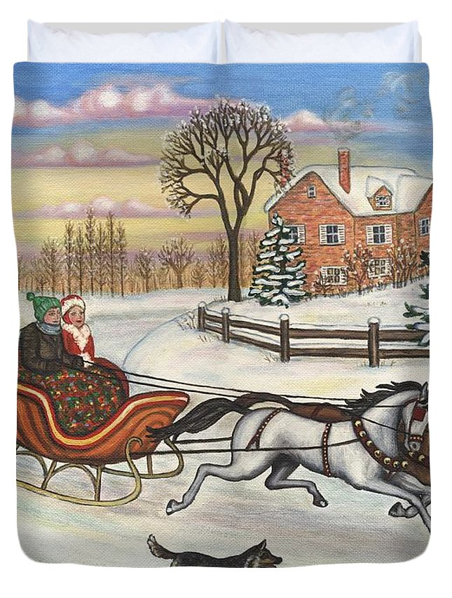 Folk Art Sleigh Ride Duvet Cover featuring the painting Sleigh Ride by Linda Mears