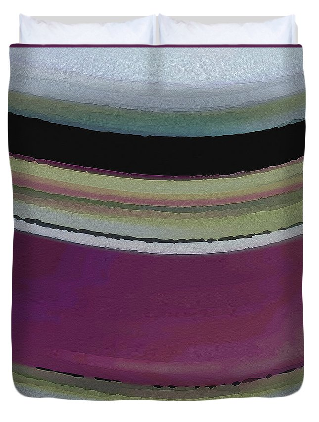Abstract Duvet Cover featuring the digital art Slight Curve by Ruth Palmer