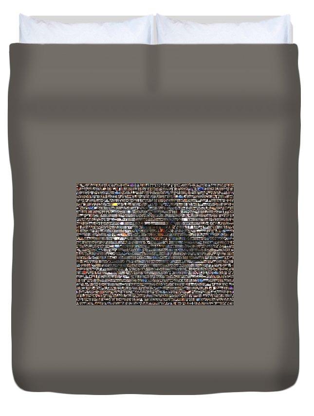 Slimer Duvet Cover featuring the mixed media Slimer Mosaic by Paul Van Scott