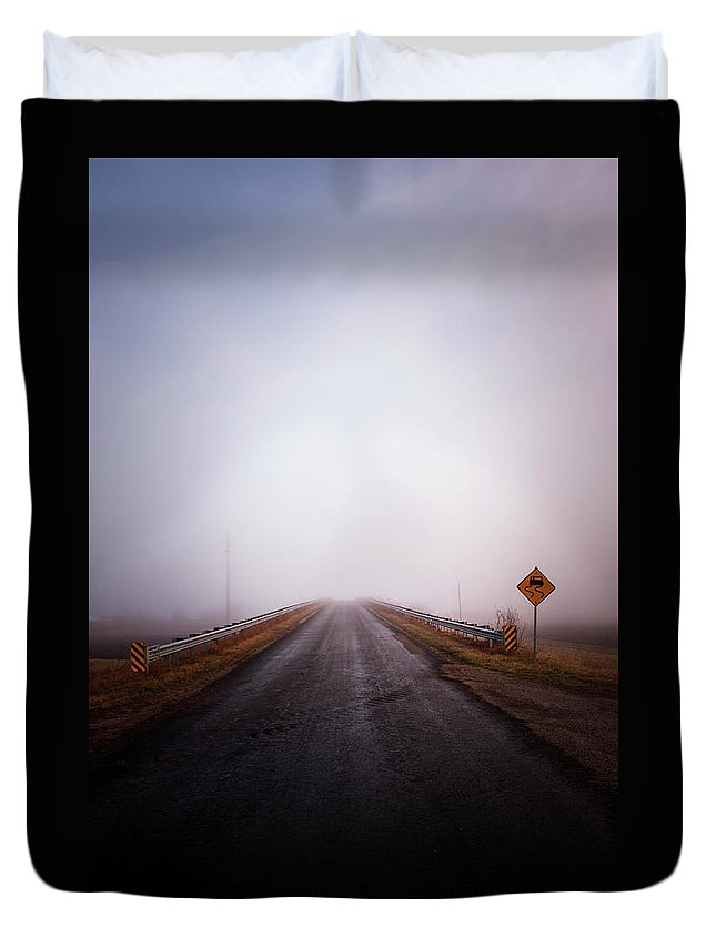 Road Duvet Cover featuring the photograph Slippery Road by David Jilek