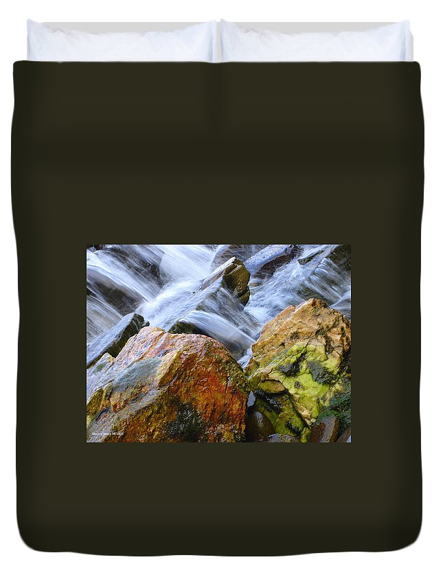 Rocks Duvet Cover featuring the photograph Slippery When Wet by Shelley Jones