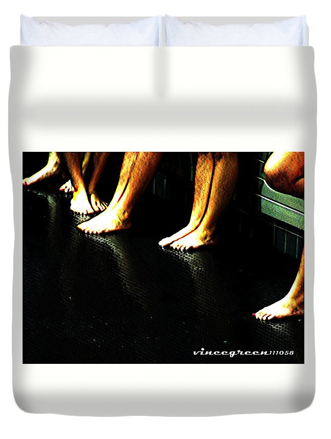 Bare Feet Duvet Cover featuring the digital art Slippery When Wet by Vincent Green