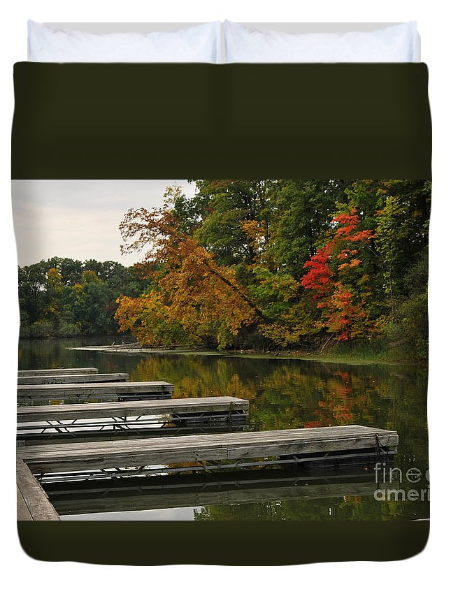 Boat Slipslips Duvet Cover featuring the photograph Slips In Autumn by Michelle Hastings