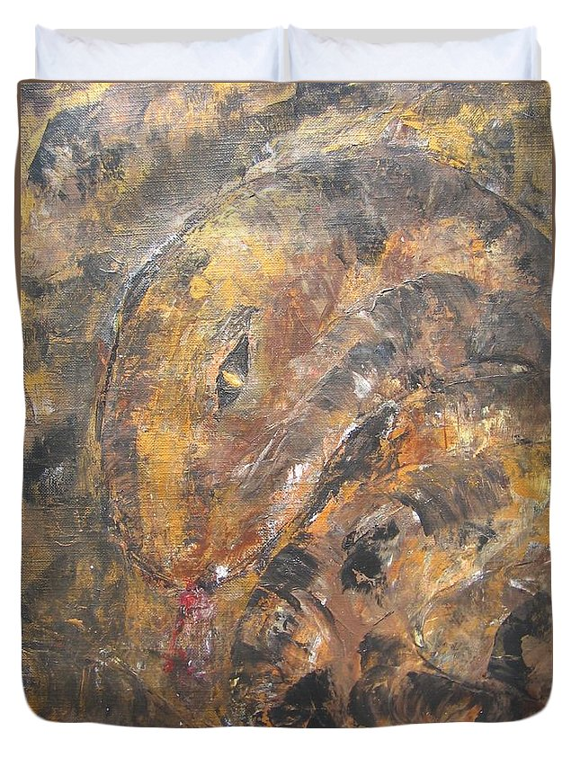 Acrylic Duvet Cover featuring the painting Slither by Maria Watt
