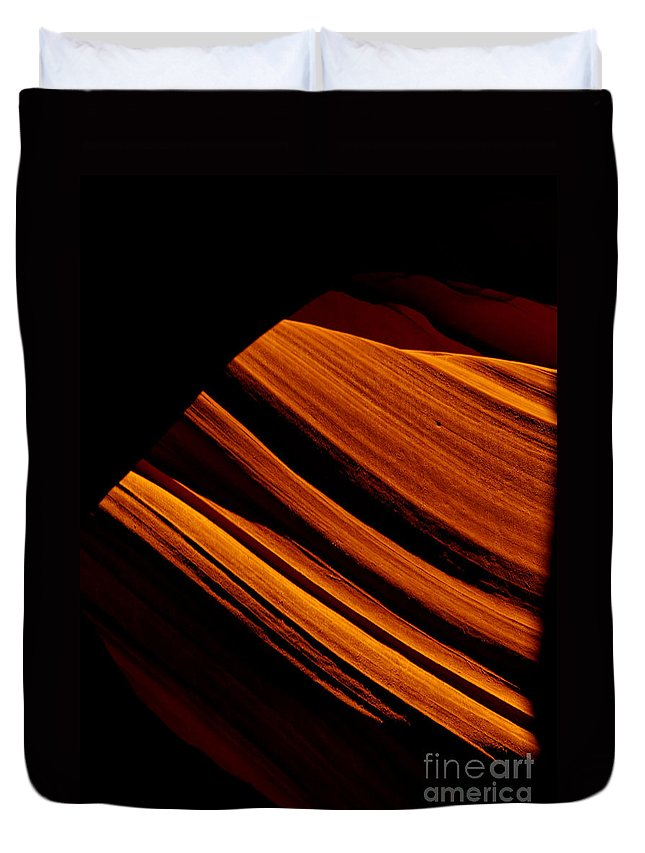 Slot Canyon Duvet Cover featuring the photograph Slot Canyon Striations by Scott Sawyer