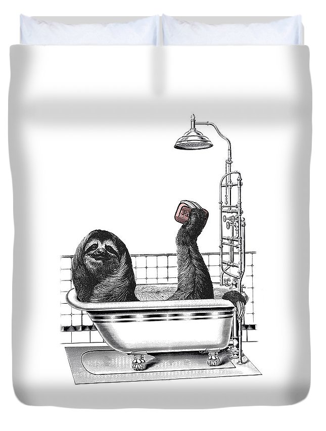 Sloth Duvet Cover featuring the digital art Sloth In Bathtub Taking A Shower by Madame Memento