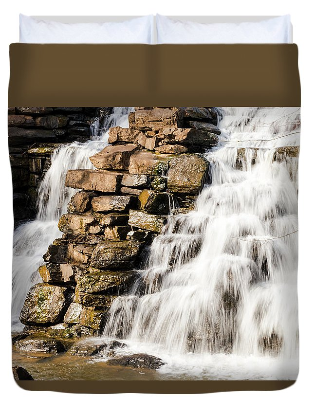Waterfall Duvet Cover featuring the photograph Slow Down by Caton Oswalt