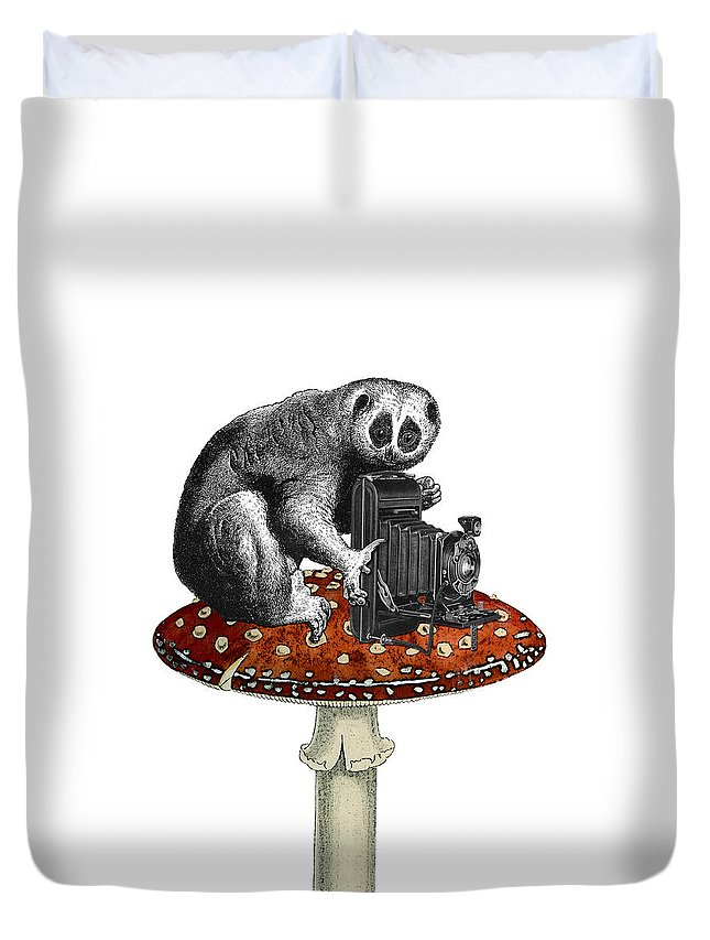 Slow Loris Duvet Cover featuring the digital art Slow Loris With Antique Camera by Madame Memento