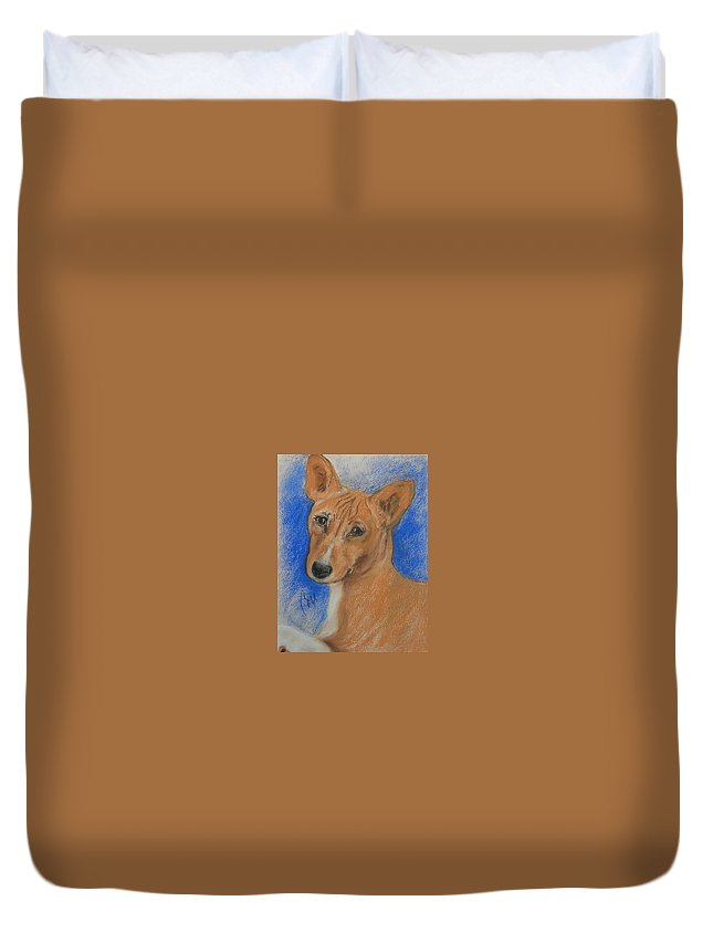 Dog Duvet Cover featuring the drawing Small And Mighty by Cori Solomon