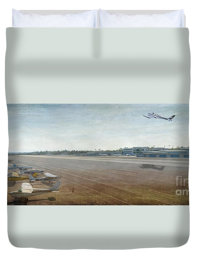 City Airport Duvet Cover featuring the photograph Small City Airport Plane Taking Off Runway by David Zanzinger
