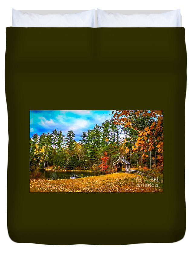 New England Duvet Cover featuring the photograph Small Covered Bridge by Claudia M Photography