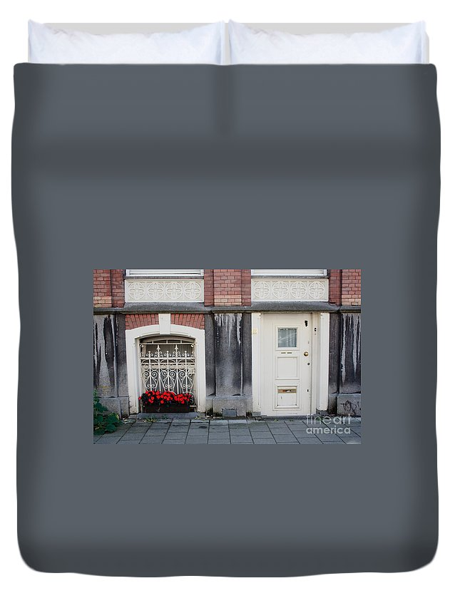 Flower Duvet Cover featuring the photograph Small Door And Flower Box Amsterdam by Thomas Marchessault